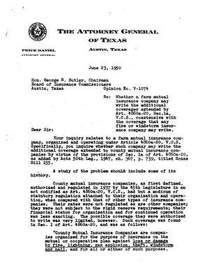 Primary view of object titled 'Texas Attorney General Opinion: V-1074'.
