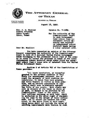 Primary view of object titled 'Texas Attorney General Opinion: V-1089'.