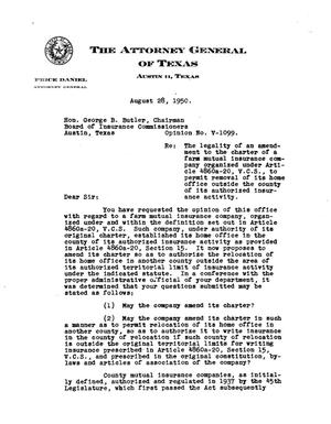 Primary view of object titled 'Texas Attorney General Opinion: V-1099'.