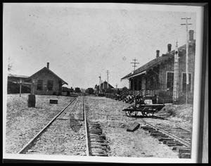 Primary view of object titled '[Palestine Original Railroad Depot]'.