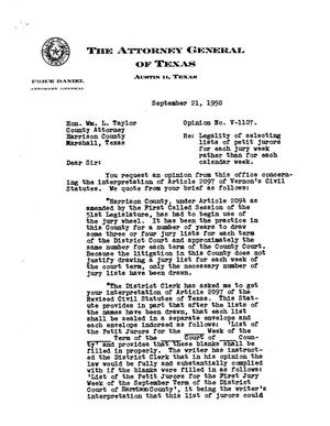 Primary view of object titled 'Texas Attorney General Opinion: V-1107'.