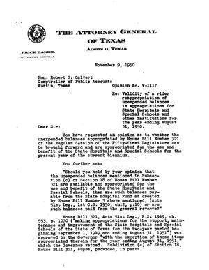 Primary view of object titled 'Texas Attorney General Opinion: V-1117'.