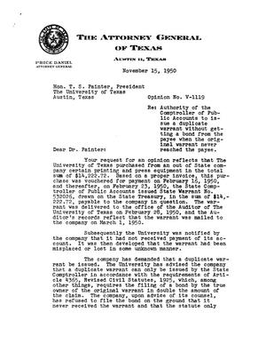 Primary view of object titled 'Texas Attorney General Opinion: V-1119'.