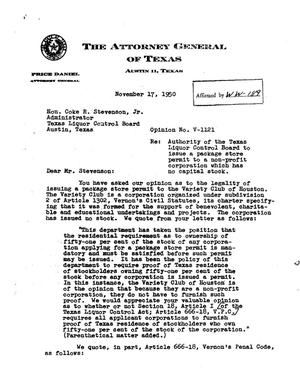 Primary view of object titled 'Texas Attorney General Opinion: V-1121'.