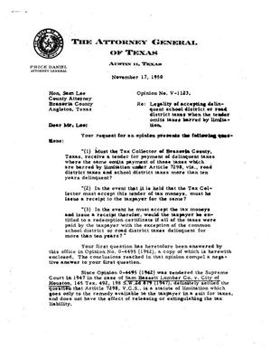 Primary view of object titled 'Texas Attorney General Opinion: V-1123'.