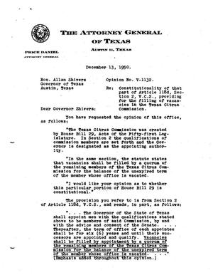 Primary view of object titled 'Texas Attorney General Opinion: V-1132'.