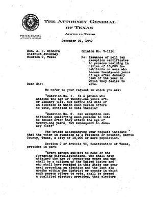 Primary view of object titled 'Texas Attorney General Opinion: V-1136'.