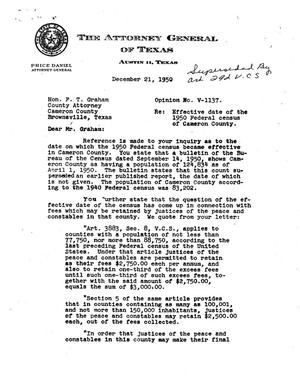 Primary view of object titled 'Texas Attorney General Opinion: V-1137'.