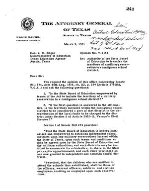 Primary view of object titled 'Texas Attorney General Opinion: V-1154'.