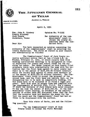 Primary view of object titled 'Texas Attorney General Opinion: V-1166'.