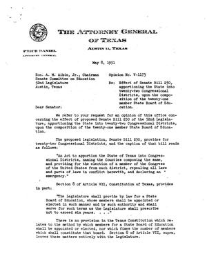 Primary view of object titled 'Texas Attorney General Opinion: V-1173'.