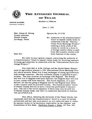 Primary view of object titled 'Texas Attorney General Opinion: V-1178'.