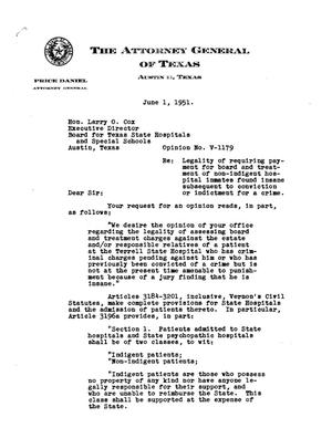 Primary view of object titled 'Texas Attorney General Opinion: V-1179'.
