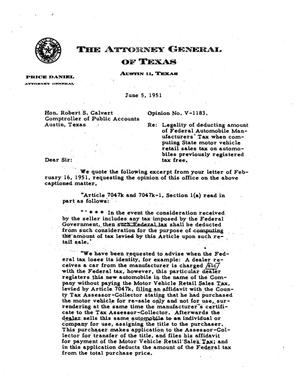 Primary view of object titled 'Texas Attorney General Opinion: V-1183'.