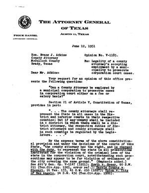 Primary view of object titled 'Texas Attorney General Opinion: V-1185'.