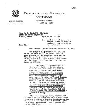 Primary view of object titled 'Texas Attorney General Opinion: V-1189'.