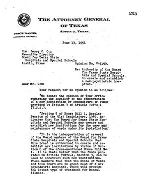 Primary view of object titled 'Texas Attorney General Opinion: V-1190'.