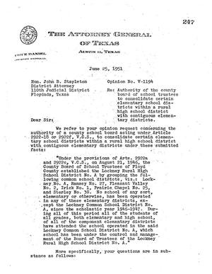 Primary view of object titled 'Texas Attorney General Opinion: V-1194'.