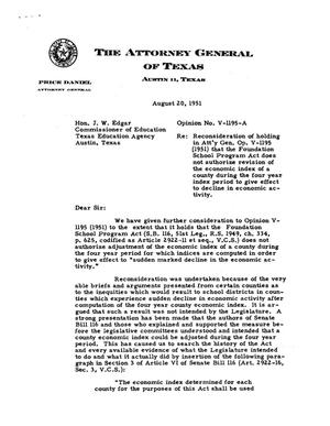Primary view of object titled 'Texas Attorney General Opinion: V-1195A'.