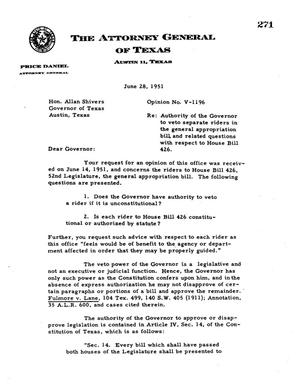 Primary view of object titled 'Texas Attorney General Opinion: V-1196'.