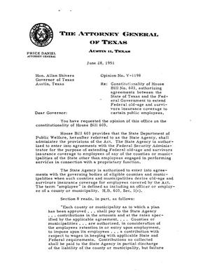 Primary view of object titled 'Texas Attorney General Opinion: V-1198'.
