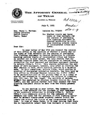 Primary view of object titled 'Texas Attorney General Opinion: V-1200'.