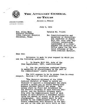 Primary view of object titled 'Texas Attorney General Opinion: V-1201'.