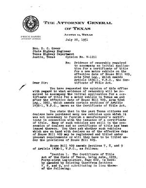 Primary view of object titled 'Texas Attorney General Opinion: V-1211'.