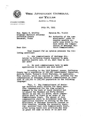 Primary view of object titled 'Texas Attorney General Opinion: V-1215'.