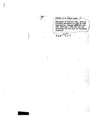 Primary view of object titled 'Texas Attorney General Opinion: V-1223'.