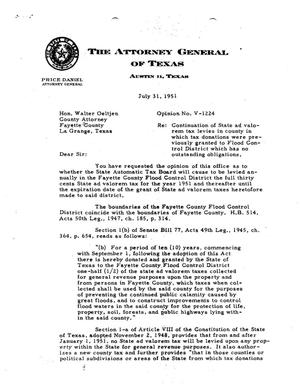 Primary view of object titled 'Texas Attorney General Opinion: V-1224'.