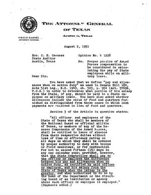 Primary view of object titled 'Texas Attorney General Opinion: V-1228'.