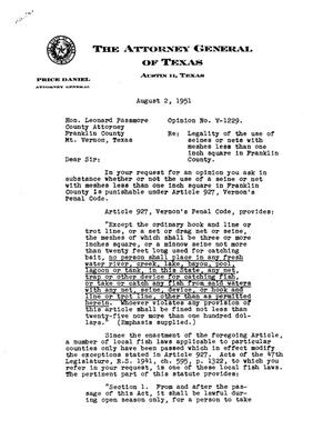 Primary view of object titled 'Texas Attorney General Opinion: V-1229'.