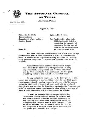 Primary view of object titled 'Texas Attorney General Opinion: V-1233'.