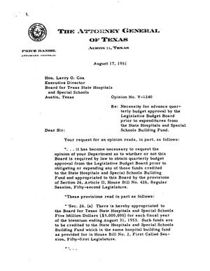 Primary view of object titled 'Texas Attorney General Opinion: V-1240'.