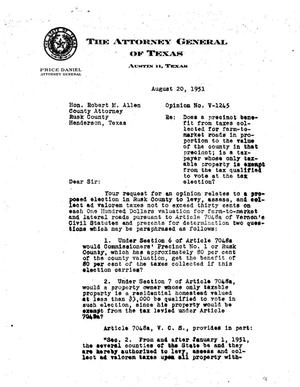 Primary view of object titled 'Texas Attorney General Opinion: V-1245'.