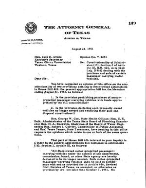 Primary view of object titled 'Texas Attorney General Opinion: V-1253'.