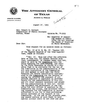 Primary view of object titled 'Texas Attorney General Opinion: V-1255'.