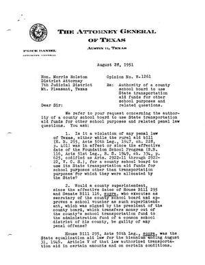 Primary view of object titled 'Texas Attorney General Opinion: V-1261'.