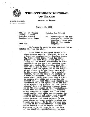 Primary view of object titled 'Texas Attorney General Opinion: V-1265'.