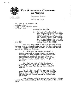 Primary view of object titled 'Texas Attorney General Opinion: V-1267'.