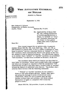 Primary view of object titled 'Texas Attorney General Opinion: V-1271'.