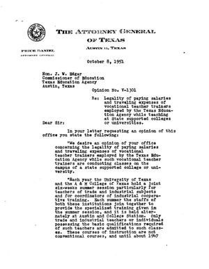 Primary view of object titled 'Texas Attorney General Opinion: V-1301'.