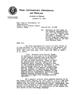 Primary view of object titled 'Texas Attorney General Opinion: V-1304'.