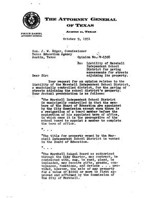 Primary view of object titled 'Texas Attorney General Opinion: V-1308'.