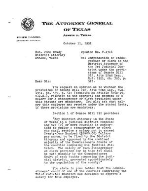 Primary view of object titled 'Texas Attorney General Opinion: V-1314'.