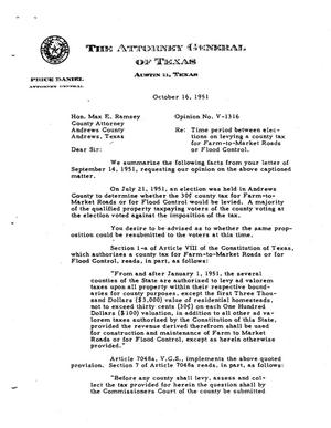 Primary view of object titled 'Texas Attorney General Opinion: V-1316'.