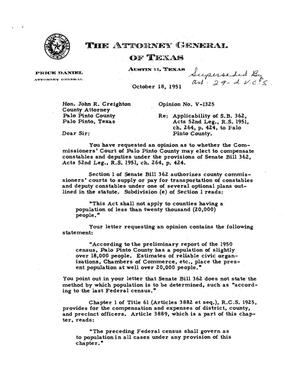Primary view of object titled 'Texas Attorney General Opinion: V-1325'.