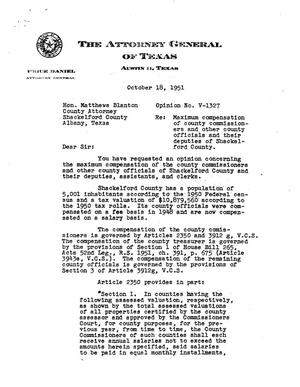 Primary view of object titled 'Texas Attorney General Opinion: V-1327'.
