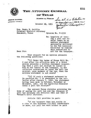 Primary view of object titled 'Texas Attorney General Opinion: V-1330'.